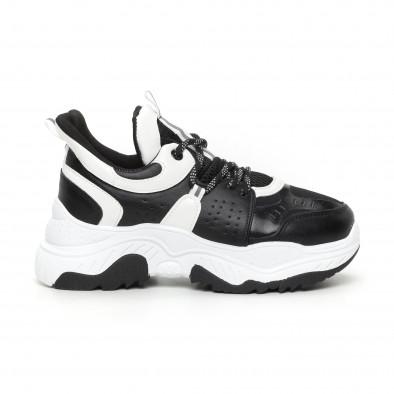 Chunky дамски маратонки в черно и бяло it130819-64 2