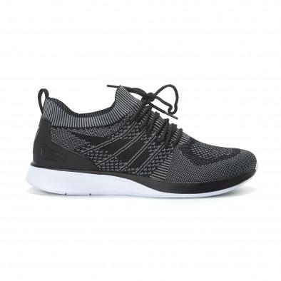 Меки мъжки маратонки плетени в сиво-черно it190219-3 2