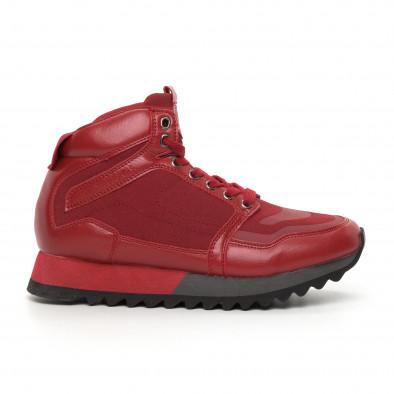 Мъжки високи спортни обувки в червено it130819-25 2