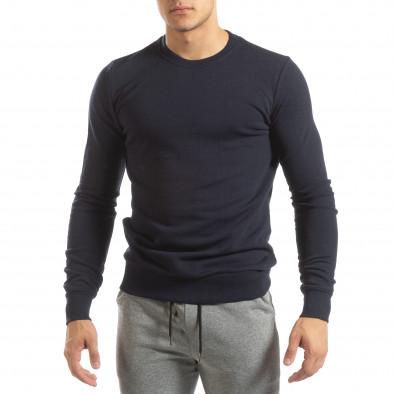 Basic мъжка памучна блуза в тъмно синьо it150419-47 3