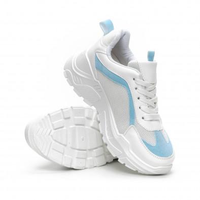 Дамски Chunky маратонки в бяло и синьо it240419-45 4