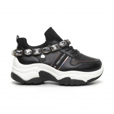 Черни дамски маратонки с камъни it260919-62 3