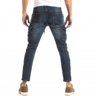 Рокерски мъжки Cargo Jeans в синьо it261018-11 4