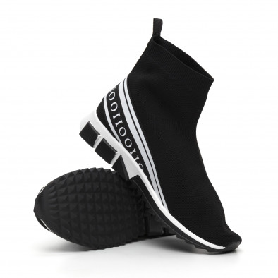 Мъжки маратонки тип чорап бял кант it260919-10 5