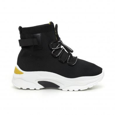 Черни дамски текстилни маратонки жълт акцент it130819-43 2