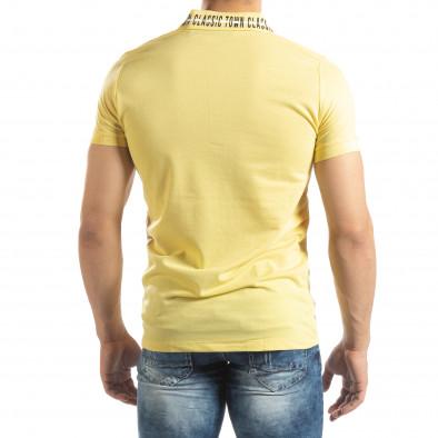 Жълта мъжка тениска с принт на яката it150419-99 3