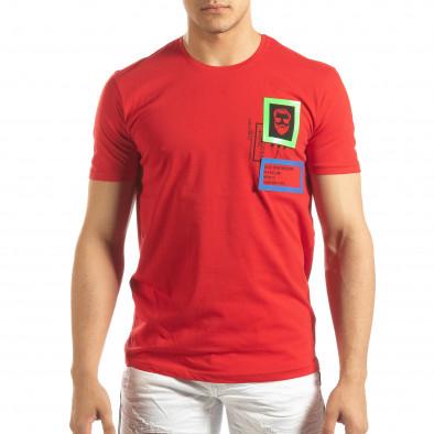 Червена мъжка тениска с гумени рамки it150419-70 3