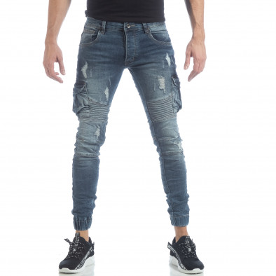 Рокерски мъжки Cargo Jeans в синьо it040219-17 3