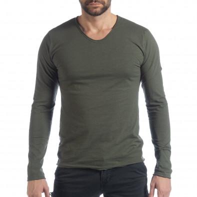 Мъжка блуза V-neck в милитъри зелено it040219-84 2