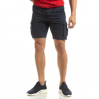 Къси карго панталони в синьо с детайл it090519-29 3