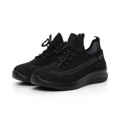 Черни плетени мъжки маратонки с декорация it130819-28 2