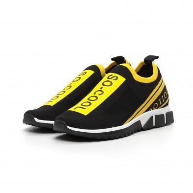 Slip-on черни мъжки маратонки жълт кант it260919-7 4