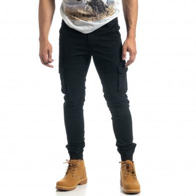 Мъжки рокерски карго панталон в черно it041019-40 3