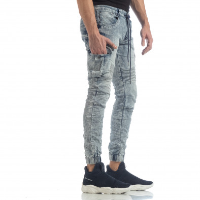 Рокерски мъжки Washed Cargo Jeans it040219-18 2