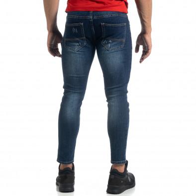 Cropped мъжки сини дънки с акценти Slim fit it041019-37 4