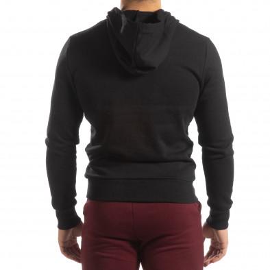 Basic мъжки памучен суичър в черно it150419-40 4