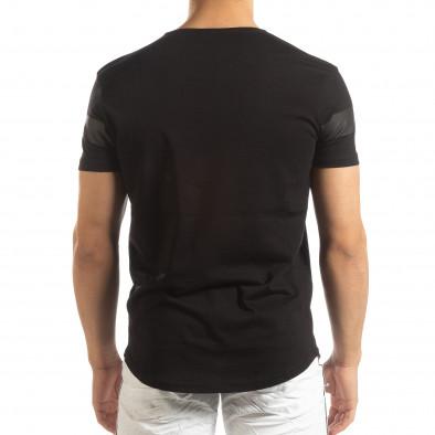 Мъжка удължена тениска в черно it150419-94 3
