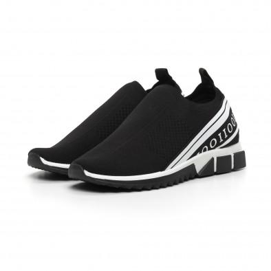 Slip-on черни мъжки маратонки бял кант it260919-6 4