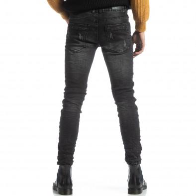 Черни мъжки дънки Slim fit с прокъсвания it051218-6 4
