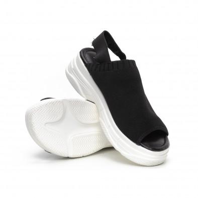 Дамски черни сандали тип чорап it240419-52 4
