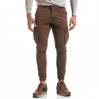 Мъжки намачкан панталон Cargo в цвят кафе it170819-18 3