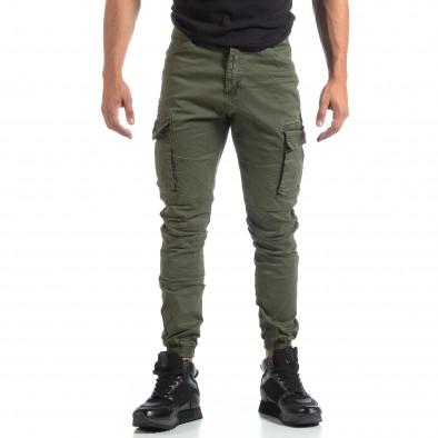 Мъжки зелен рокерски панталон с карго джобове it170819-4 3
