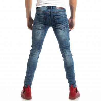 Намачкани мъжки сини дънки с надписи it261018-18 4