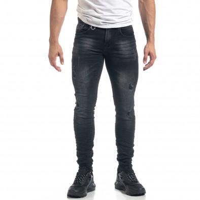 Черни мъжки Slim fit дънки с прокъсвания it071119-10 2