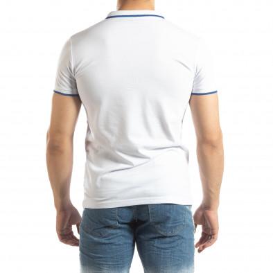 Бяла мъжка тениска пике с лого it150419-60 3