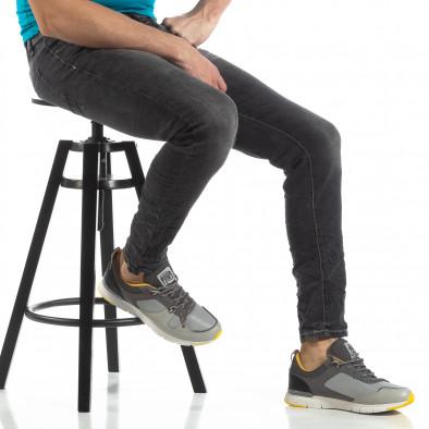 Мъжки Washed Slim Jeans в сиво it210319-7 2