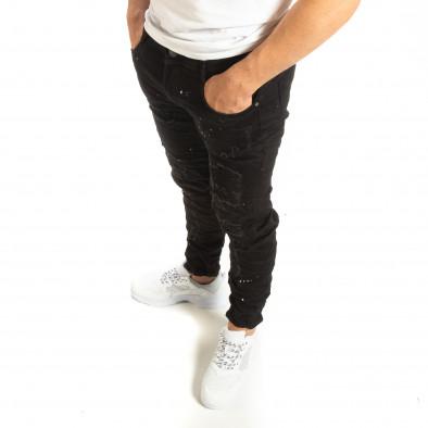 Скъсани мъжки черни дънки с пръски боя it090519-3 3