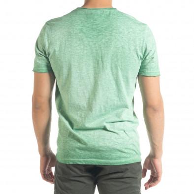 Зелена мъжка тениска от памук и лен it240420-5 3