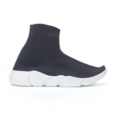 Дамски черни маратонки slip-on тип чорап it130819-52 2