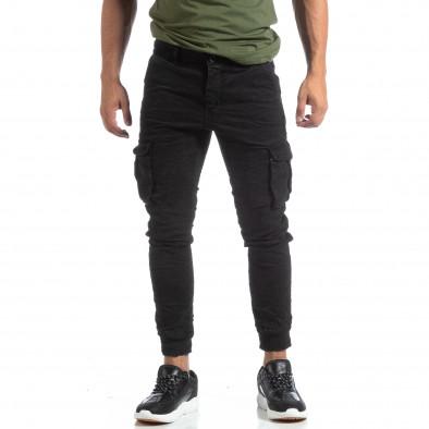 Мъжки намачкан панталон Cargo в черно it170819-17 3