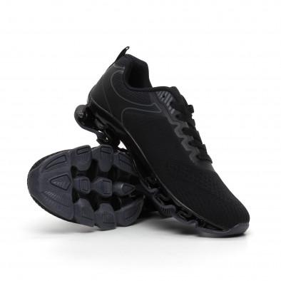 Мъжки черни маратонки с релефна подметка it260919-32 5