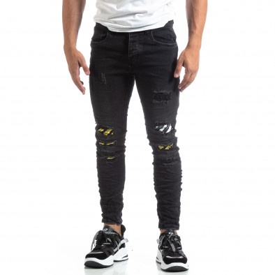 Slim fit мъжки черни дънки с акценти it170819-50 3