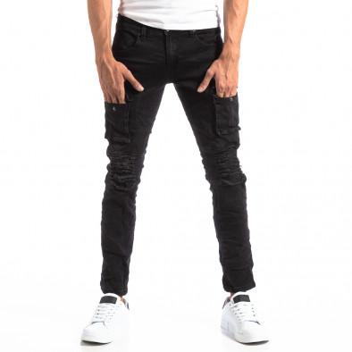 Черни мъжки скъсани дънки в рокерски стил it250918-20 2