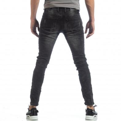 Сиви мъжки дънки с акцентни кръпки it040219-23 4