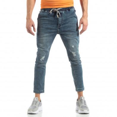 Мъжки сини дънки с ластик на кръста it210319-1 3