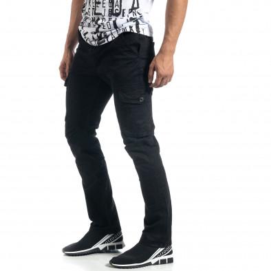 Мъжки черен карго панталон с прави крачоли it041019-44 2