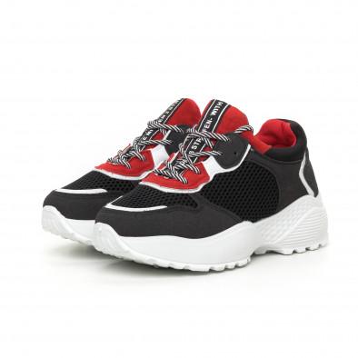 Олекотени дамски маратонки в червено и черно it130819-61 3