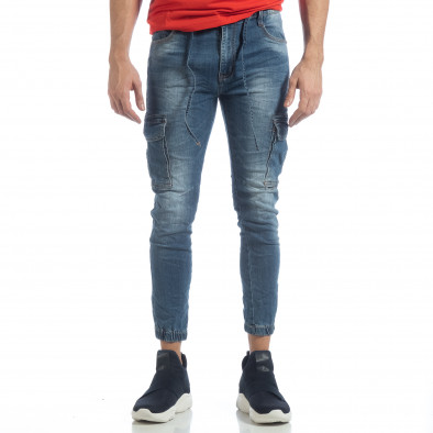Мъжки сини карго дънки с ластик и връзки it040219-21 3