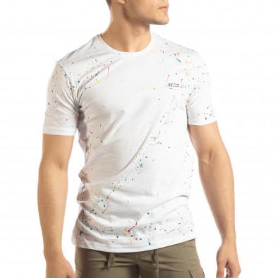 Бяла мъжка тениска с пръски боя it150419-88 2