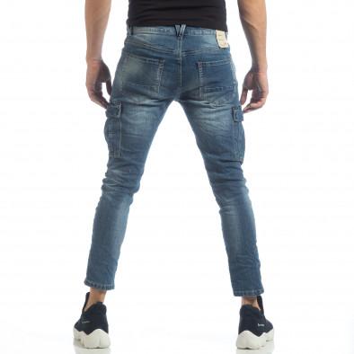 Мъжки сини намачкани карго дънки it040219-20 4