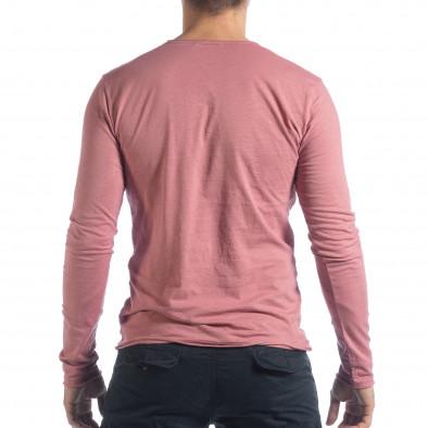 Мъжка блуза V-neck в розово it040219-86 3