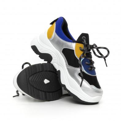Сребристи дамски маратонки с цветни части it130819-60 4
