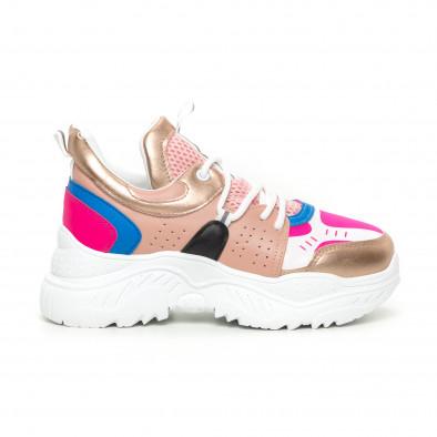 Chunky дамски маратонки в розово и синьо it130819-65 2