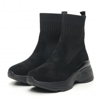 Дамски черни маратонки тип чорап с обемна подметка it281019-19 3
