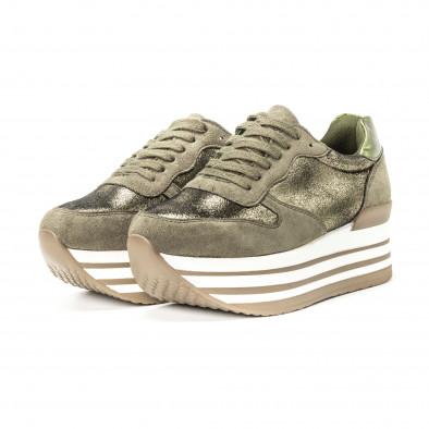 Дамски маратонки във военно зелено на платформа  it150818-65 3