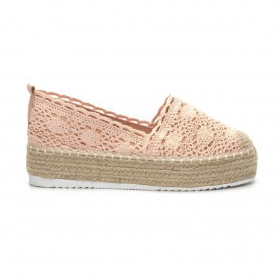 Розови плетени дамски еспадрили Rustic style it240419-39 2